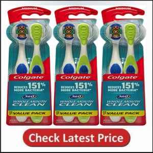 Colgate 360° Toothbrush with Tongue and Cheek Cleaner, Soft - 6 Count60