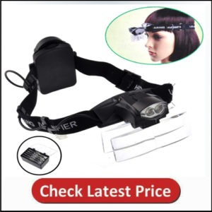 Lighted Head Magnifier Glasses Headset with Led Light Magnifying Head Lamp Headband Loupe Visor Hands-Free for Watch Repair Reading Eyelash Hobby Crafts Sewing, 5 Lenses