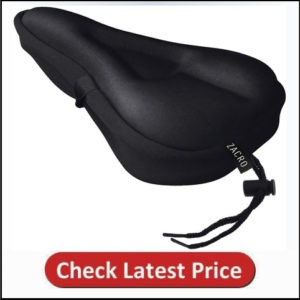 Zacro Gel Bike Seat Cover- BS031 Extra Soft Gel Bicycle Seat - Bike Saddle Cushion with Water&Dust Resistant Cover (Black)